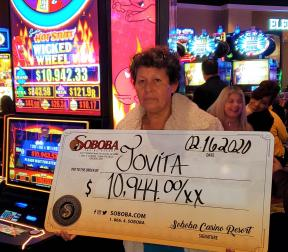 Congratulations to Jovita G, winning a jackpot of $10,944.00 on our Wicked Wheel